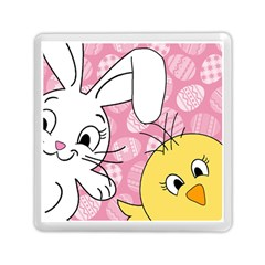 Easter Bunny And Chick  Memory Card Reader (square)  by Valentinaart