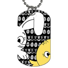 Easter Bunny And Chick  Dog Tag (two Sides) by Valentinaart
