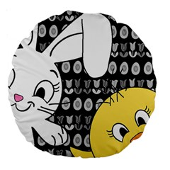 Easter Bunny And Chick  Large 18  Premium Round Cushions by Valentinaart