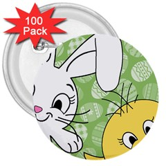 Easter bunny and chick  3  Buttons (100 pack)  by Valentinaart