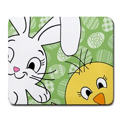 Easter Bunny And Chick  Large Mousepads by Valentinaart