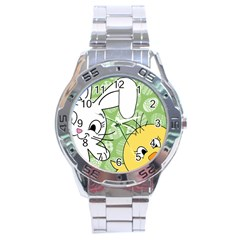 Easter Bunny And Chick  Stainless Steel Analogue Watch by Valentinaart