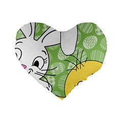 Easter Bunny And Chick  Standard 16  Premium Flano Heart Shape Cushions by Valentinaart