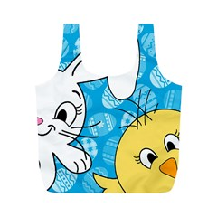 Easter Bunny And Chick  Full Print Recycle Bags (m)  by Valentinaart