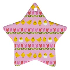 Easter   Chick And Tulips Ornament (star) by Valentinaart