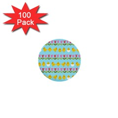 Easter   Chick And Tulips 1  Mini Buttons (100 Pack)  by Valentinaart