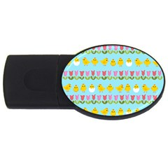 Easter   Chick And Tulips Usb Flash Drive Oval (2 Gb) by Valentinaart