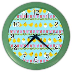 Easter   Chick And Tulips Color Wall Clocks by Valentinaart