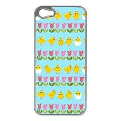 Easter   Chick And Tulips Apple Iphone 5 Case (silver) by Valentinaart