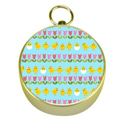 Easter   Chick And Tulips Gold Compasses by Valentinaart