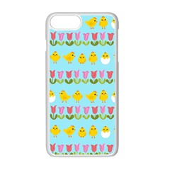 Easter   Chick And Tulips Apple Iphone 7 Plus White Seamless Case by Valentinaart