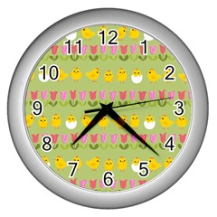Easter   Chick And Tulips Wall Clocks (silver)  by Valentinaart