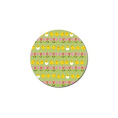 Easter   Chick And Tulips Golf Ball Marker by Valentinaart