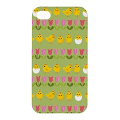 Easter   Chick And Tulips Apple Iphone 4/4s Hardshell Case by Valentinaart