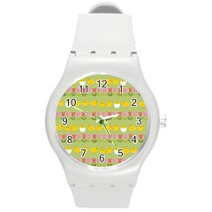 Easter   Chick And Tulips Round Plastic Sport Watch (m) by Valentinaart