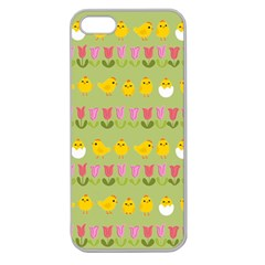 Easter   Chick And Tulips Apple Seamless Iphone 5 Case (clear) by Valentinaart
