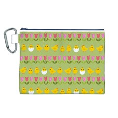 Easter   Chick And Tulips Canvas Cosmetic Bag (l) by Valentinaart