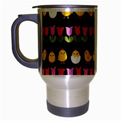 Easter   Chick And Tulips Travel Mug (silver Gray) by Valentinaart