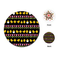 Easter   Chick And Tulips Playing Cards (round)  by Valentinaart