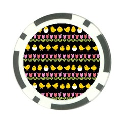 Easter   Chick And Tulips Poker Chip Card Guard (10 Pack) by Valentinaart