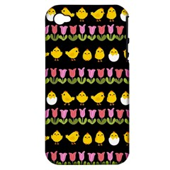 Easter   Chick And Tulips Apple Iphone 4/4s Hardshell Case (pc+silicone) by Valentinaart