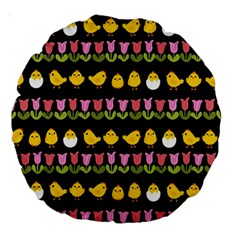 Easter   Chick And Tulips Large 18  Premium Round Cushions by Valentinaart
