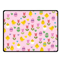 Easter   Chick And Tulips Fleece Blanket (small) by Valentinaart