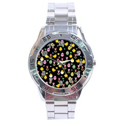 Easter   Chick And Tulips Stainless Steel Analogue Watch by Valentinaart