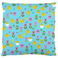 Easter   Chick And Tulips Large Cushion Case (two Sides) by Valentinaart