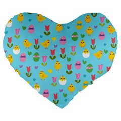 Easter   Chick And Tulips Large 19  Premium Heart Shape Cushions by Valentinaart