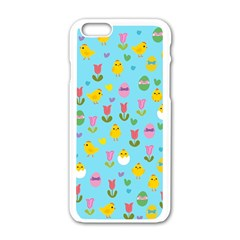 Easter   Chick And Tulips Apple Iphone 6/6s White Enamel Case by Valentinaart