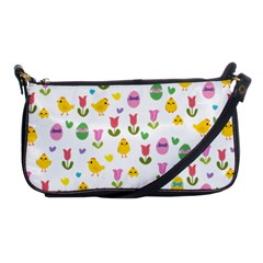 Easter   Chick And Tulips Shoulder Clutch Bags by Valentinaart