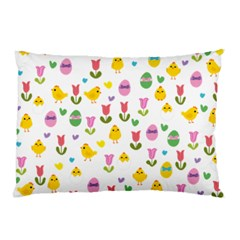 Easter   Chick And Tulips Pillow Case (two Sides) by Valentinaart