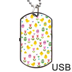Easter - chick and tulips Dog Tag USB Flash (Two Sides) by Valentinaart