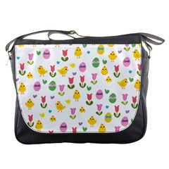 Easter   Chick And Tulips Messenger Bags by Valentinaart