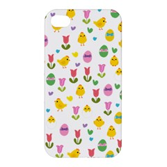 Easter   Chick And Tulips Apple Iphone 4/4s Premium Hardshell Case by Valentinaart