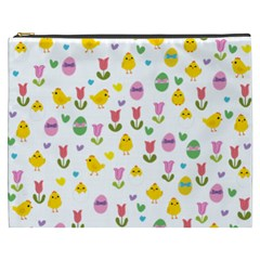 Easter   Chick And Tulips Cosmetic Bag (xxxl)  by Valentinaart
