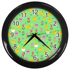 Easter   Chick And Tulips Wall Clocks (black) by Valentinaart