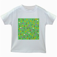 Easter   Chick And Tulips Kids White T Shirts by Valentinaart