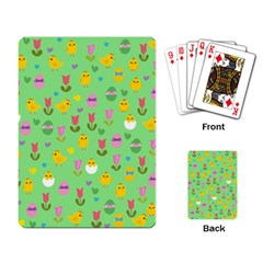 Easter   Chick And Tulips Playing Card by Valentinaart