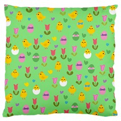 Easter   Chick And Tulips Large Cushion Case (one Side) by Valentinaart