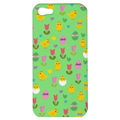 Easter   Chick And Tulips Apple Iphone 5 Hardshell Case by Valentinaart