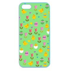 Easter   Chick And Tulips Apple Seamless Iphone 5 Case (color) by Valentinaart