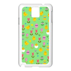 Easter   Chick And Tulips Samsung Galaxy Note 3 N9005 Case (white) by Valentinaart