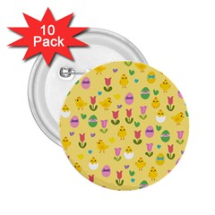 Easter - chick and tulips 2.25  Buttons (10 pack)  by Valentinaart
