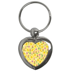 Easter   Chick And Tulips Key Chains (heart)  by Valentinaart