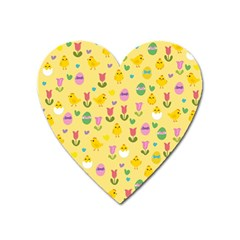 Easter   Chick And Tulips Heart Magnet by Valentinaart