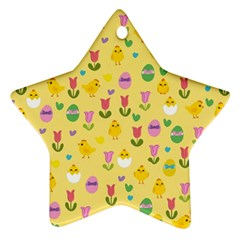 Easter   Chick And Tulips Star Ornament (two Sides) by Valentinaart