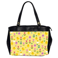 Easter   Chick And Tulips Office Handbags (2 Sides)  by Valentinaart