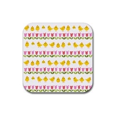 Easter   Chick And Tulips Rubber Coaster (square)  by Valentinaart